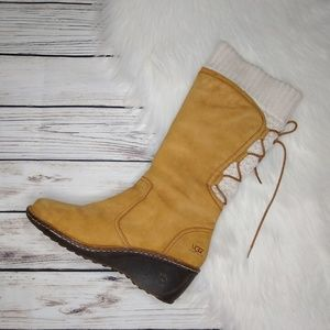 UGG SKYFALL TAN KNIT SWEATER CUFF WEDGES BOOTS